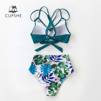 CUPSHE Tropical Palms Twist-Front High-Waisted Bikini Sexy Lace Up Swimsuit Two Pieces Swimwear Women 2020 Beach Bathing Suit 4
