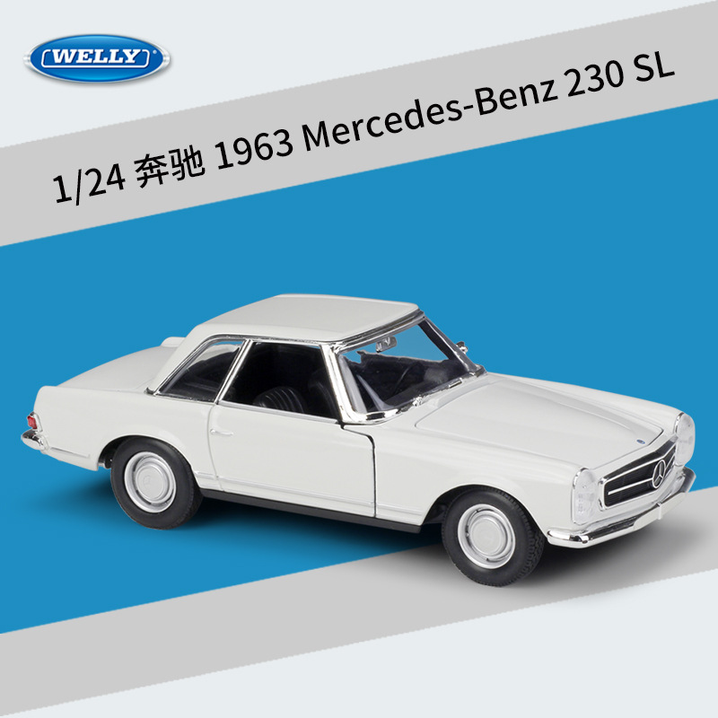 WELLY Diecast 1:24 Car Classic Metal Model Car 1963 Mercedes Benz 230 SL/Benz 220 Alloy Toy Car For Children Gift Collection