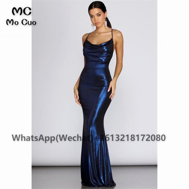 2021 Sheath Sexy Prom Evening Dresses Long Spaghetti Straps V-Neck Robe De Soiree With Side Slit Party Prom Dresses 3
