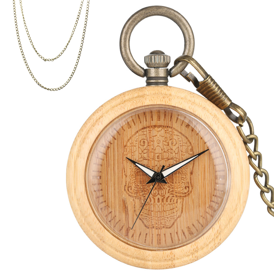 Steampunk Cool Skull Head Engraving Bamboo Wooden Quartz Pocket Watch Vintage Bronze Pocket Hanging Chain Fob Sweater Chain