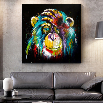 Watercolor Thinking Monkey Wall Art Canvas Prints Abstract Animals Pop Paintings Decor Pictures For Kids Room