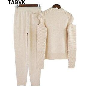Image 5 - TAOVK Molle Alla Moda in maglia set caldo delle donne knittwear aperto maniche spalla maglione allentato vestito di mutanda 2 pezzi abiti per le donne 2019