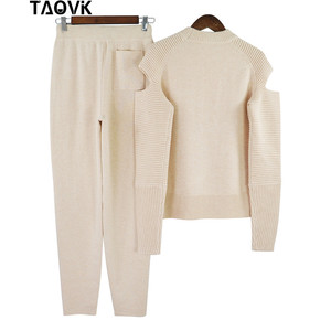 Image 5 - TAOVK Stylish Soft knit set warm womens knittwear open shoulder sleeves sweater loose pant suit 2 piece outfits for women 2019