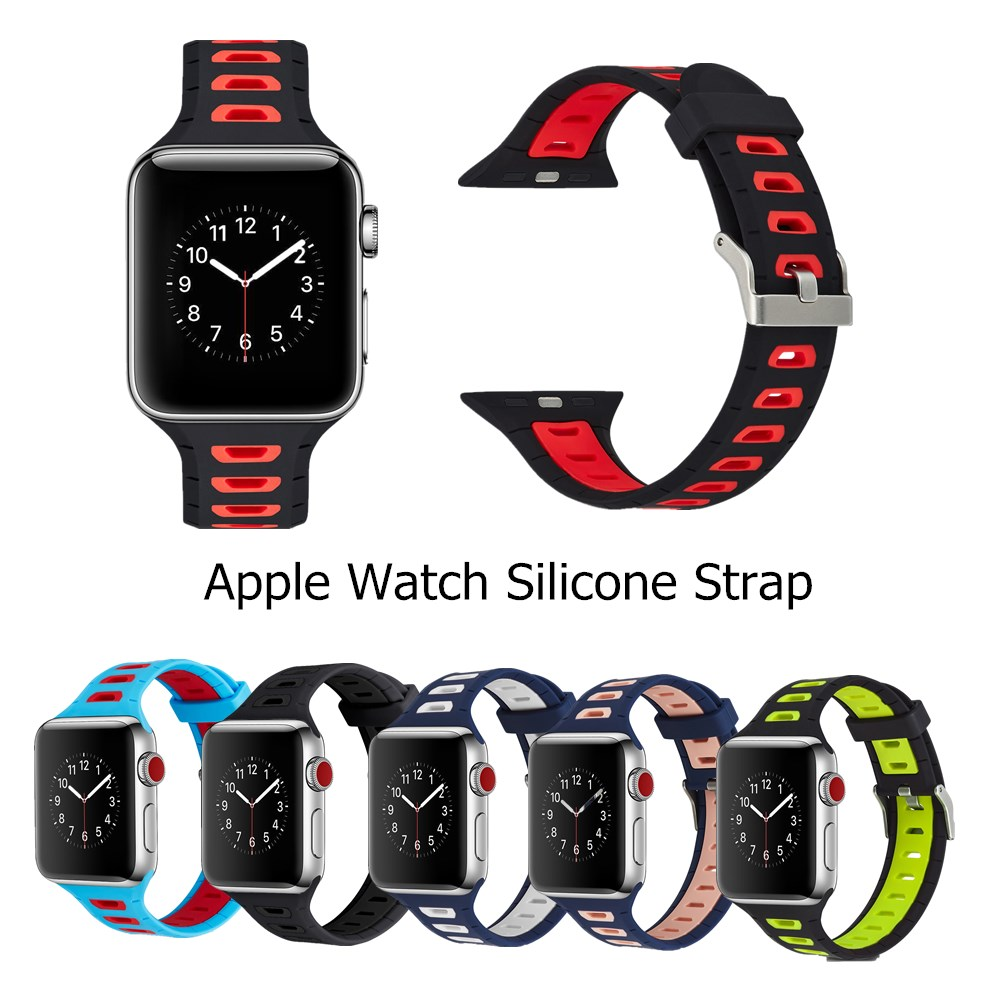 Waterproof Silicone Sports Strap for Apple Watch Series 5 4 3 2 Buckle Bands for iWatch 38 42 MM Watchbands Accessories 40 44MM image