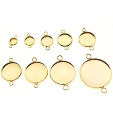 Gold Stainless Steel Connector Blank Setting Round Cabochon Base Double Loop for Earring Bracelet Jewelry Making Accessories