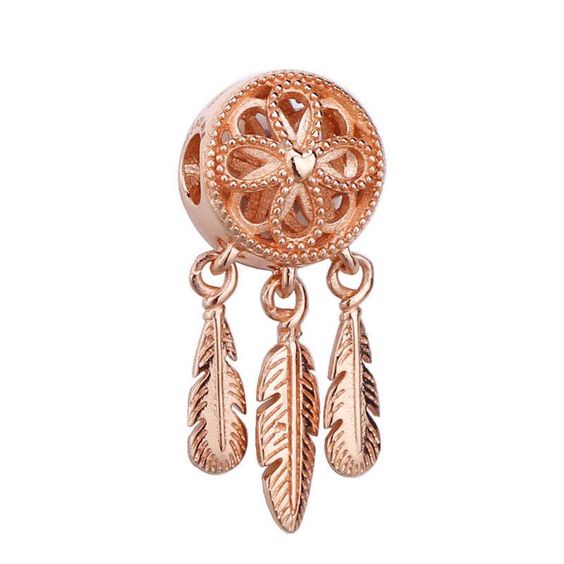 2 Teile/los Romantische Kristall FAMILIE Liebe Anhänger Charme Perlen fit Original Marke Armbänder für Frauen DIY Schmuck, Der Rose Gold