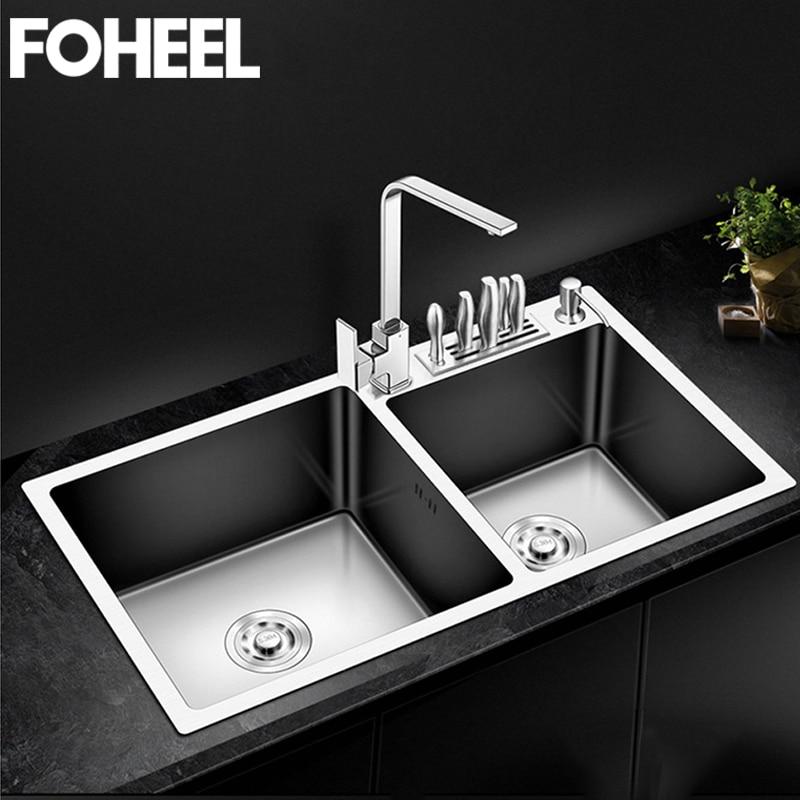 FOHEEL Kitchen Sink Double Bowl Above Counter Or Undermount Handmade Brushed Stainless Steel Kitchen Sinks Wastafel FKS02-1