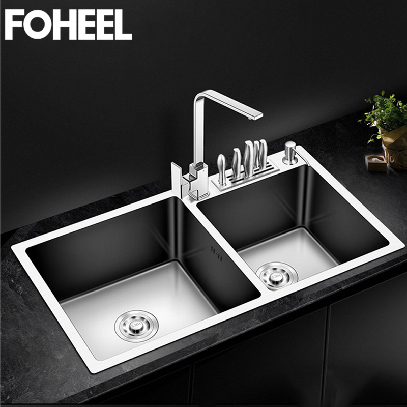 FOHEEL Kitchen Sink Double Bowl Above Counter Or Undermount Handmade Brushed Stainless Steel Kitchen Sinks Wastafel FKS02-1 image