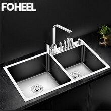 فوهيل بالوعة المطبخ وعاء مزدوج فوق عداد أو Undermount اليدوية نحى الفولاذ المقاوم للصدأ أحواض مطبخ Wastafel FKS02 1