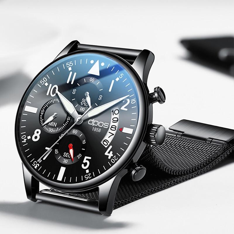 2019 Relogio Masculino Men Watches Fashion Sport Stainless Steel Case Leather Band Watch Quartz Business Wristwatch Reloj Hombre