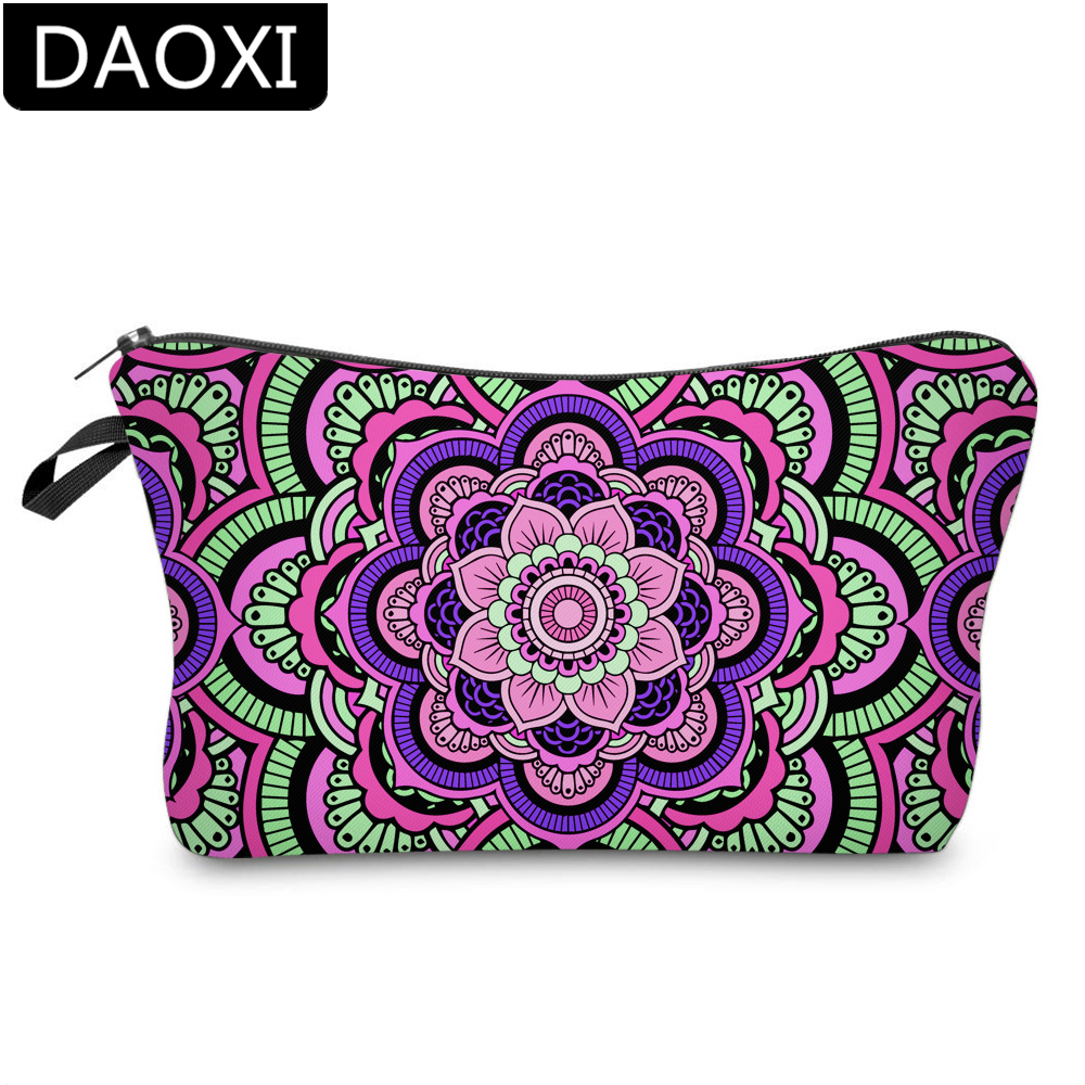 DAOXI 3D Printing Mandala Flowers Cosmetic Bags Vivid Flowers Makeup Bag For Travel DX51466