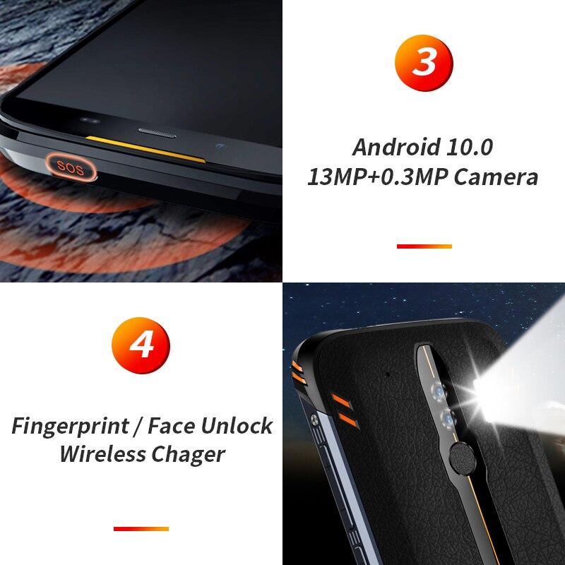 Homtom HT80 IP68 Waterdichte Smartphone 4G Lte Android 10 5.5 Inch 18:9 Hd + MT6737 Quad Core Nfc Draadloze lading Sos Mobiele Telefoon - 4