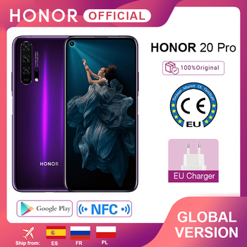 In Stock Global Version Honor 20 Pro Smartphone Kirin 980 Octa Core 7nm 6.26'' 8G 256G 48MP Four Cam Cell Phone Google Play NFC