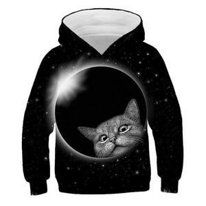 Image 5 - 3D Kitty Print Hoodie Pullover Style Cat Print Tide Sweater Kids Sweatshirt Fashion Boys and Girls Casual Hoodie
