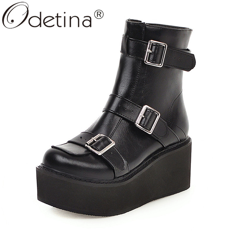 NEW WOMEN FASHION PLATFORM WEDGE ANKLE BOOTIE ZIPPER CUTE ROUND TOE CASUAL BOOTS
