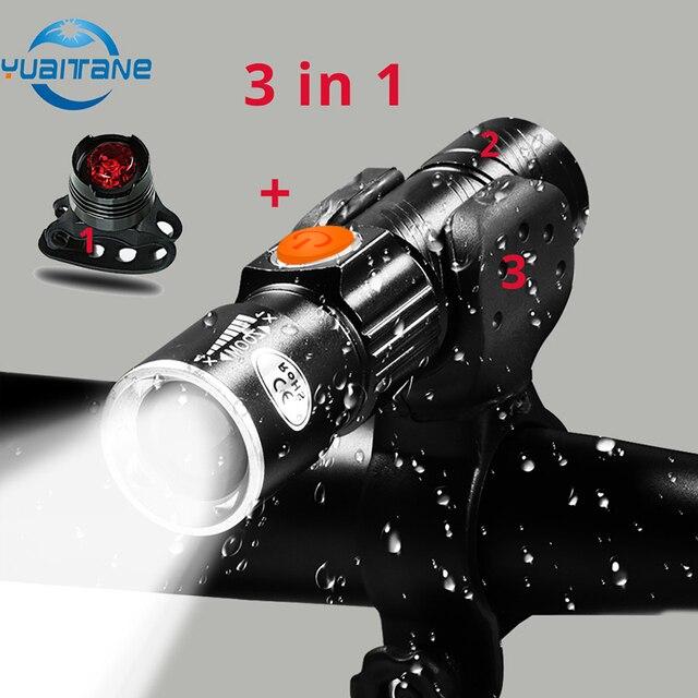 3 in1 8000 lúmen conjunto de luz da bicicleta usb recarregável led à prova dusb água super brilhante zoom farol luz traseira mtb bicicleta luz 1