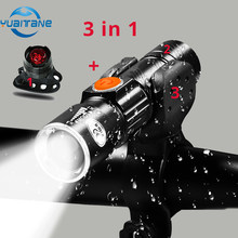 Bargain 3in1 8000 Lumen Bike Bicycle Light Set USB rechargeable LED Waterproof Super Bright Zoom Headlight Rear light MTB Bike Light opportunity