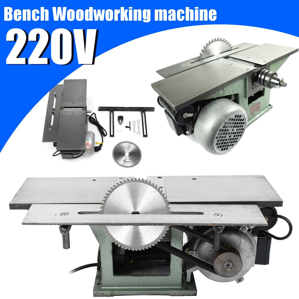 3 In 1 220V  Woodworking Machine Electric Planing Planer Multifunctional Wood Work Table Planing Saw Drill Body Cutting Machine