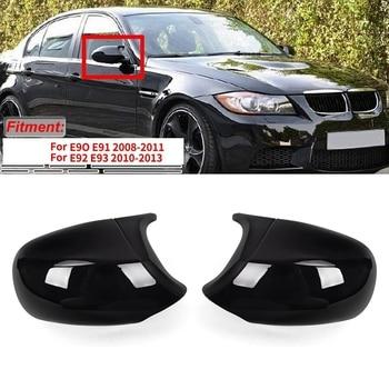 Gloss Black M3 Style Rear View Mirror Cover Cap Replacement for BMW 3 Series E90 E91 E92 E93 LCI Facelifted 2010-2013
