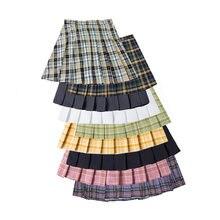 Женская плиссированная юбка летняя Клетчатая мини в стиле Харадзюку