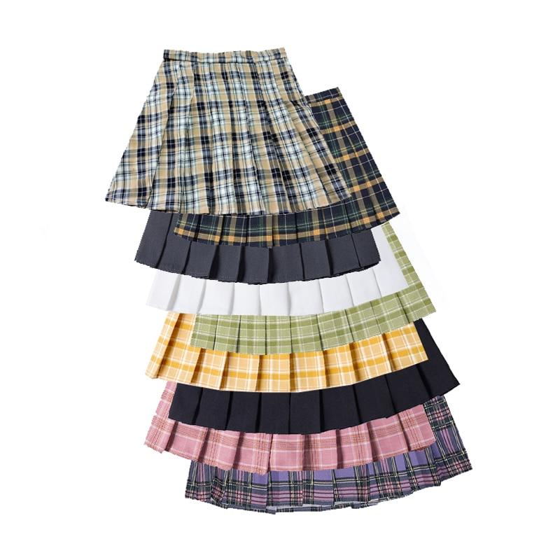 Top SaleⁿSummer Women Pleated Skirt Harajuku Preppy Style Ladies Plaid Skirts Mini Cute High Waist Female Short Skirts Kawaii Girls Skirt╢