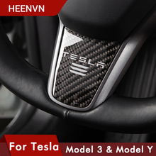 Heenvn Carbon Fiber Steering Wheel Cover For Tesla Model 3 Y Accessories Interior Decoration Protector Patch Three Car Stickers