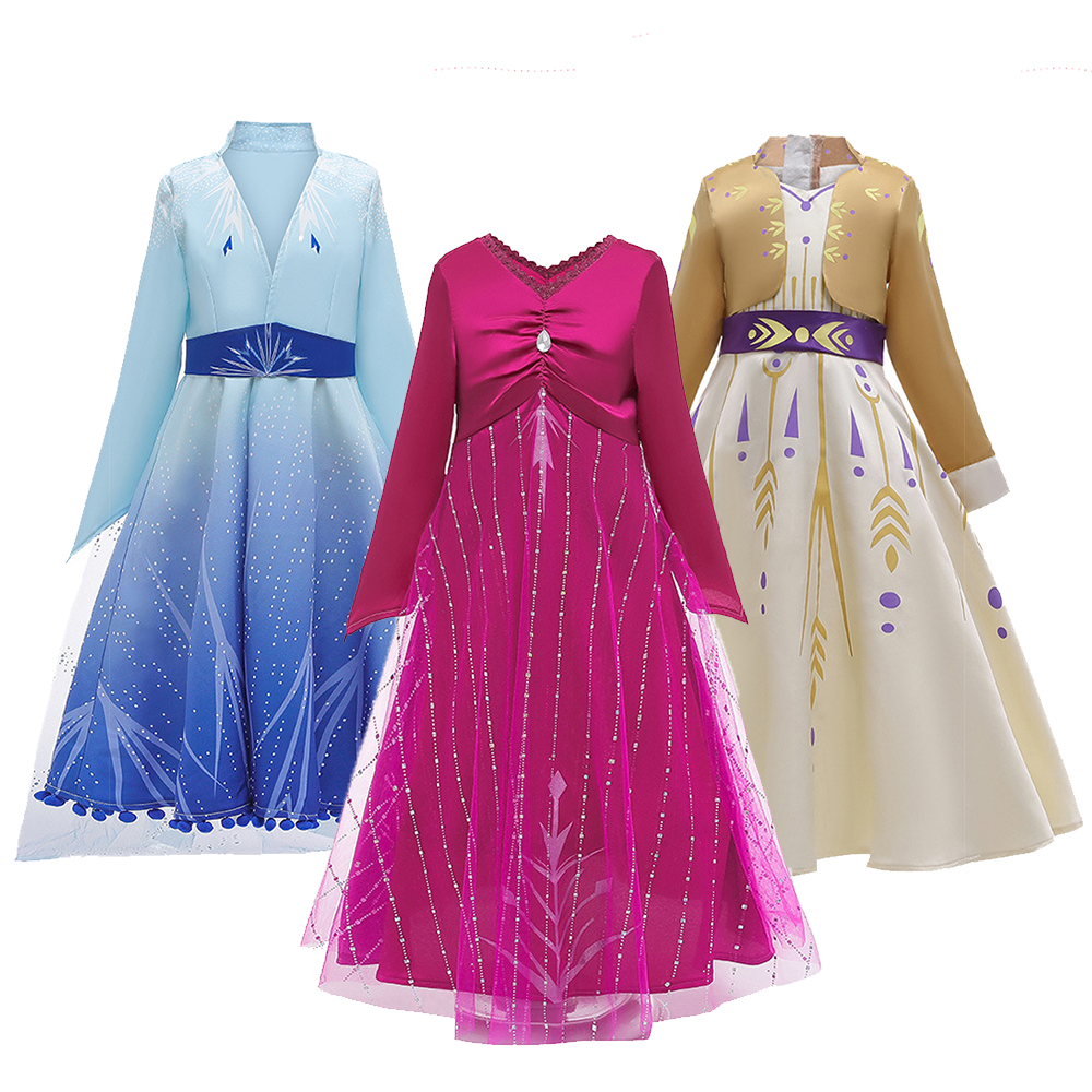 Princess Dress For Girls Frozen 2 Costumes Christmas Girls Dresses  New Year Kids Cosplay Costume Dress Children Clothing 4-12