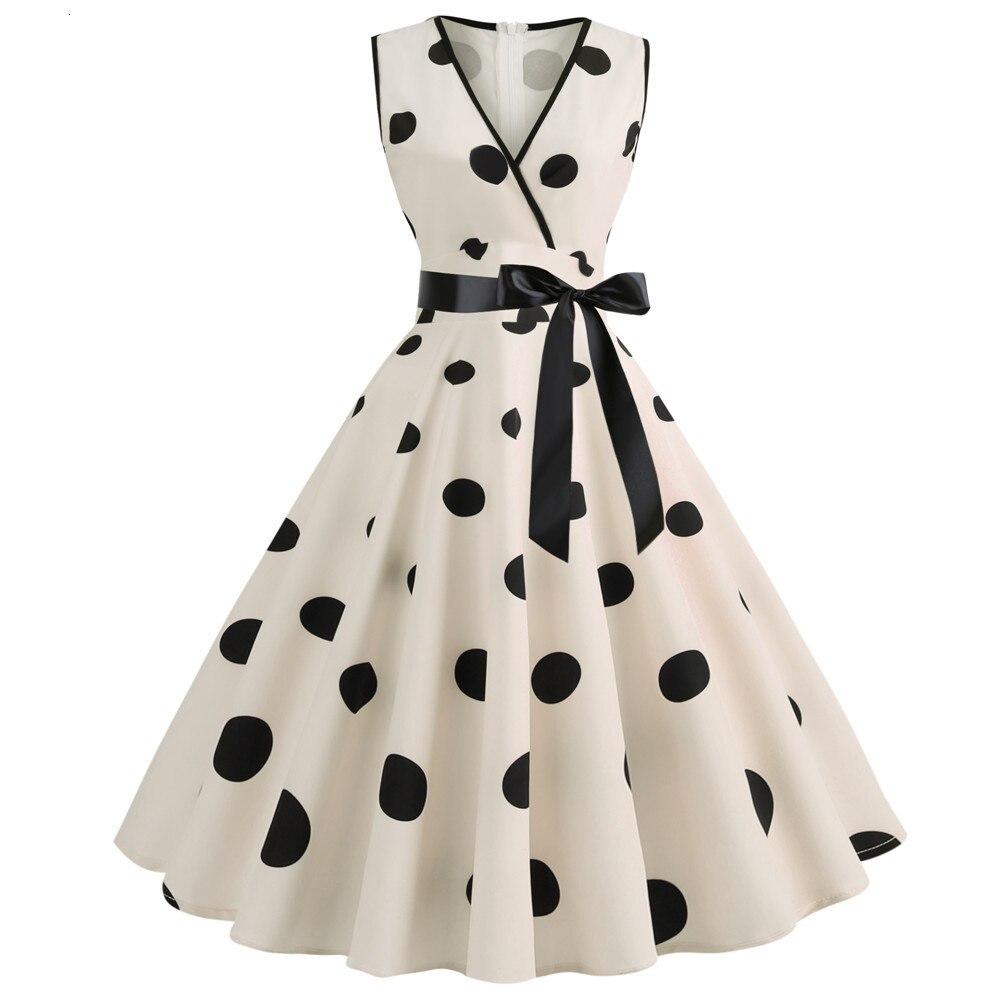 Retro Summer Dresses 2019 Fashion V-neck 1950 S 60 S Rockabilly Polka Dot Bow Pinup Ball Grown Party Robe Plus Size Vestidos