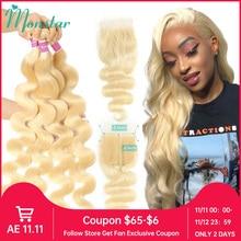Monstar Human Hair Bundles with 4x4 Closure Brazilian Hair Weave Lace Closure with 2 3 4 Bundle Remy 613 Blonde Body Wave Bundle