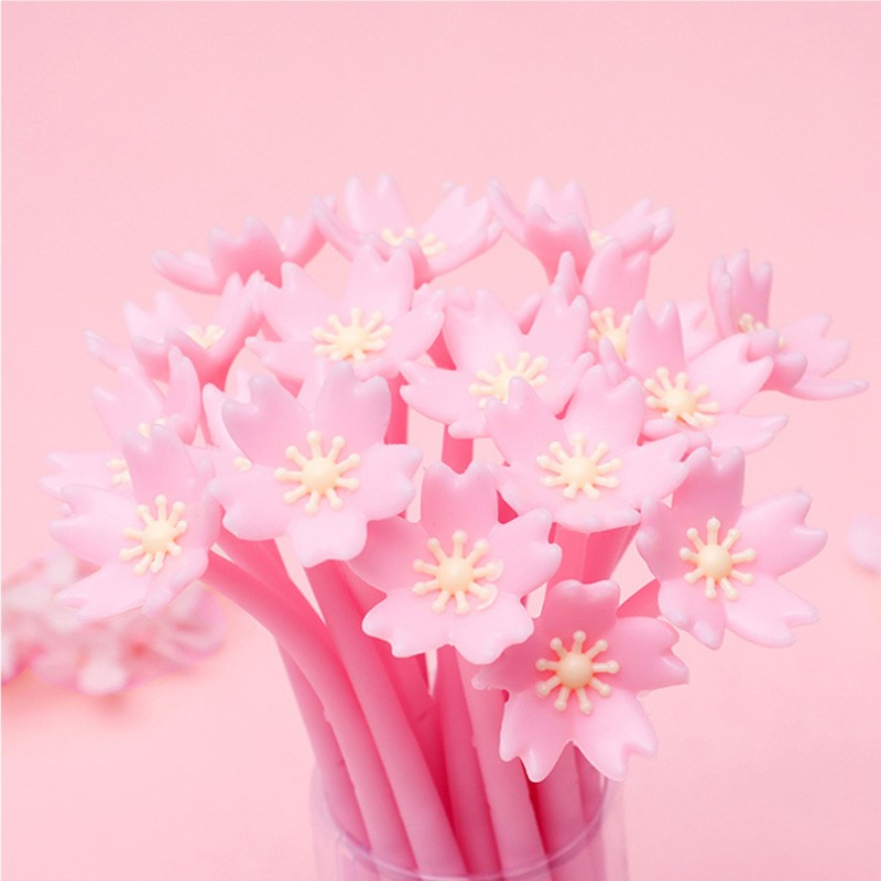 4pcs/lot Cute Pink Cherry Blossoms Sakura Flower Silicone Gel Pens Gift Prize DIY Drawing Pen Office School Supplies