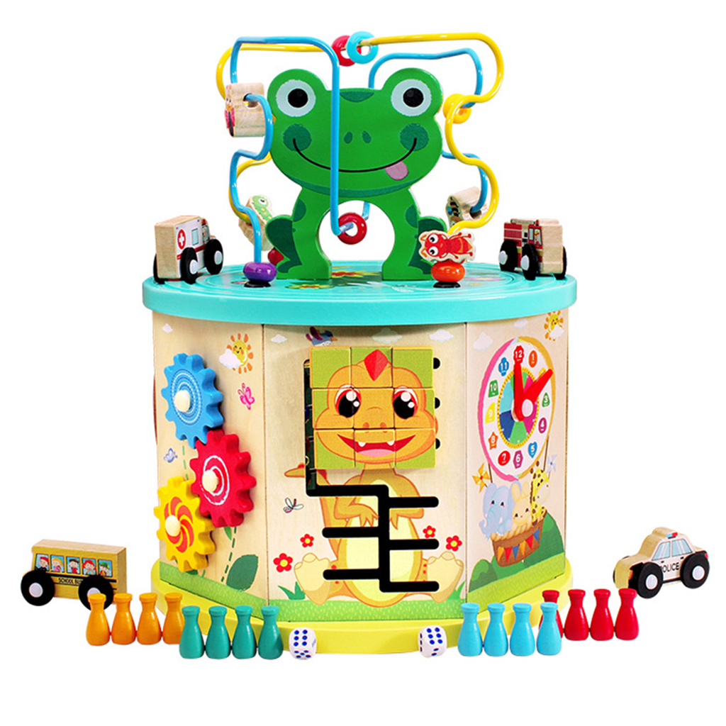 Cube d'activité en bois-labyrinthe de perles, jeu d'engrenages, trieur de formes, centre d'activités de jouets boulier pour enfants de 1 an + développement précoce - 3