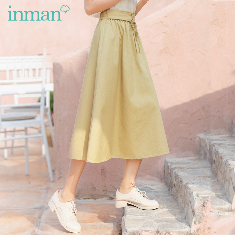 INMAN 2020 Summer New Arrival Cotton High Waist Lace-up Nipped Waist A-line Skirt