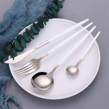 4Pcs/set white silver Cutlery Set 18/10 Stainless Steel Dinnerware Silverware Flatware Set Dinner Knife Fork Spoon Dropshipping