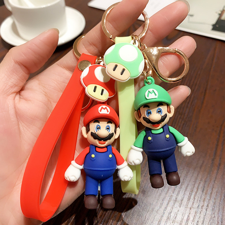 2020 New Super Mario Bros Keychain Cartoon 3D Super Mario Keyring Fashion Mario Bag Charms Pendant Key Chains Trinket Kid Gift(China)