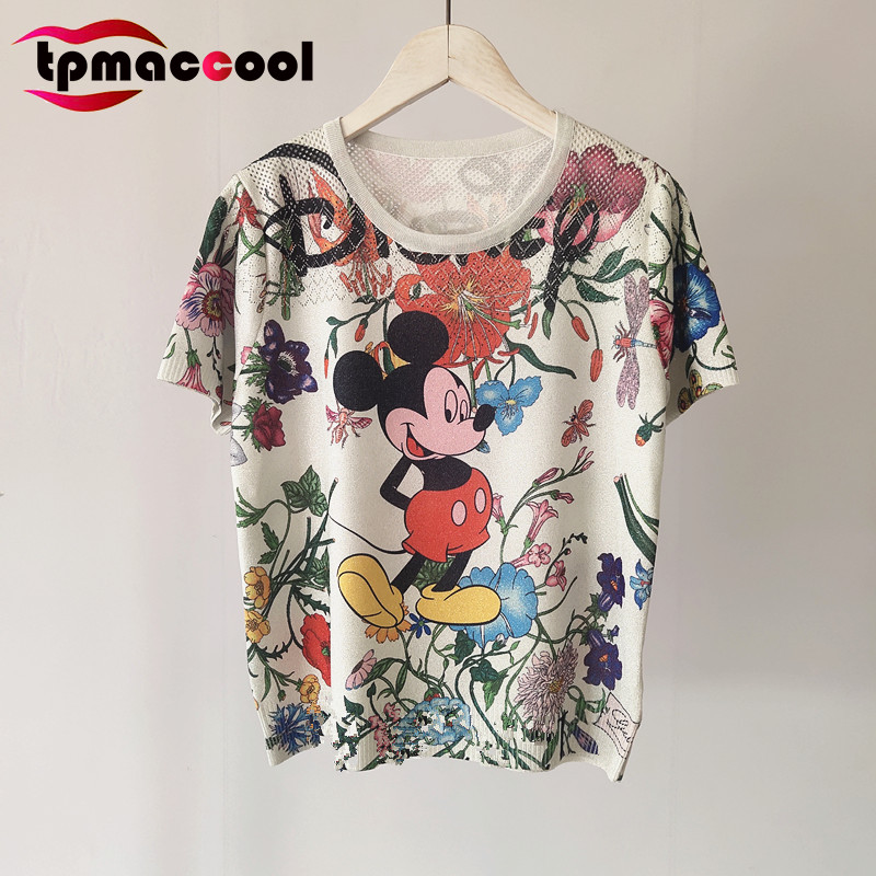 Tpmaccool luxury designer 2020 Summer women T shirt Cartoon animal Ultra Thin round Neck Short Sleeve Pullover Knitted tshirt|T-Shirts| - AliExpress