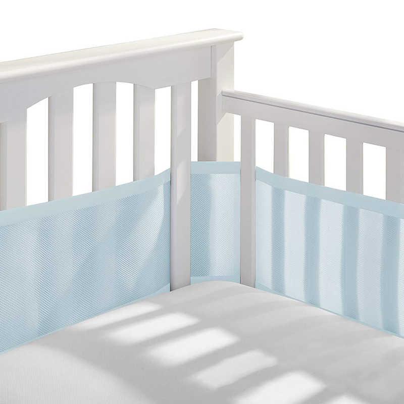 新生児ベビーベッドバンパー通気性ピンクメッシュベビーベッドライナー幼児ベビーベッドベビー寝具セットクレードルプロテクターベビーベッドバンパールーム装飾