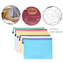 GRID ZIP data paper stationery file for Office School students storage bag Waterproof  Folders Document Pouch