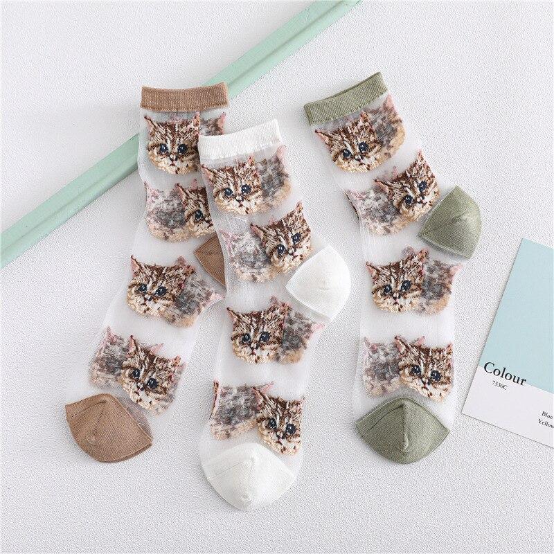 Kawaii Animals Socks Women Thin Transparent Short Fishnet Socks Female Comfortable Breathable Casual Original Hipster Sox