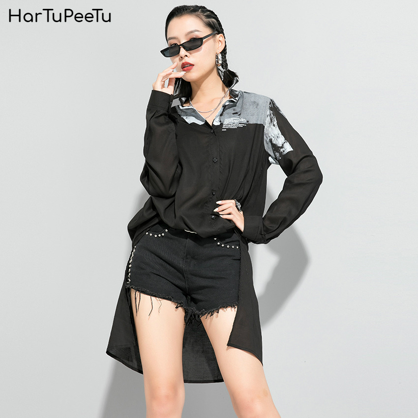 Casual Irregular Shirt Women Long Sleeve Blouse Print Plus Size Loose Fit 2020 Spring Summer Single-breasted Basic Tops