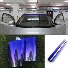 20x150cm folha de pára brisa frontal superior proteção solar gradiente carro preto filme de tingimento com raspador e faca
