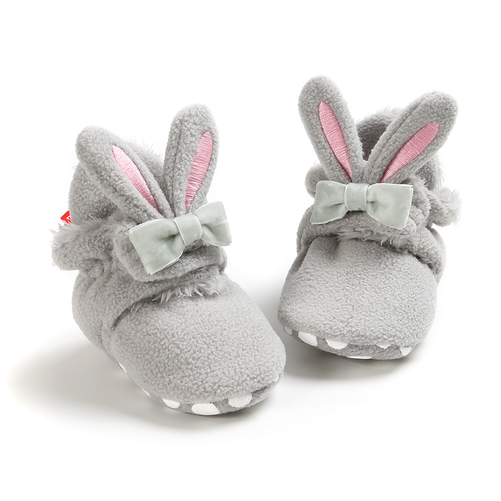 Booties Baby Socks Shoes Girl Winter Warm Cute Rabbit Ear Toddler Prewalkers Soft Anti-slip Infant Newborn Crib Crawl Shoes
