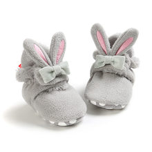 Booties Baby Socks Shoes Girl Winter Warm Cute Rabbit Ear Toddler Prewalkers Soft Anti-slip Infant Newborn Crib Crawl Shoes(China)
