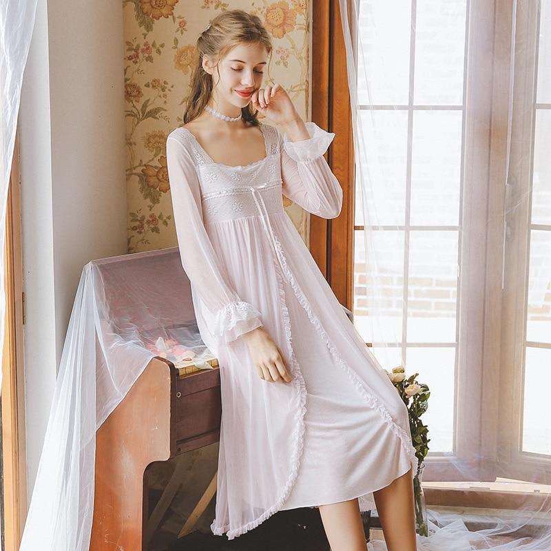 Sexy Sleepwear Women Summer Autumn Nightdress Japanese Tube Top Skirt Loose Long Sleeves Princess Lace Nightdress Women GZ27