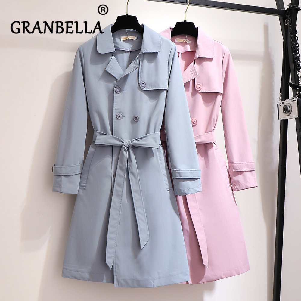 Solid Color Long Double-breasted Women Casual   Trench   Coat With Belt Elegant Turn-Down Collar Office Lady Spring Female Outwear