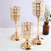 Luxury 3pcs golden light crystal romantic candlestick stand living room table wedding decoration