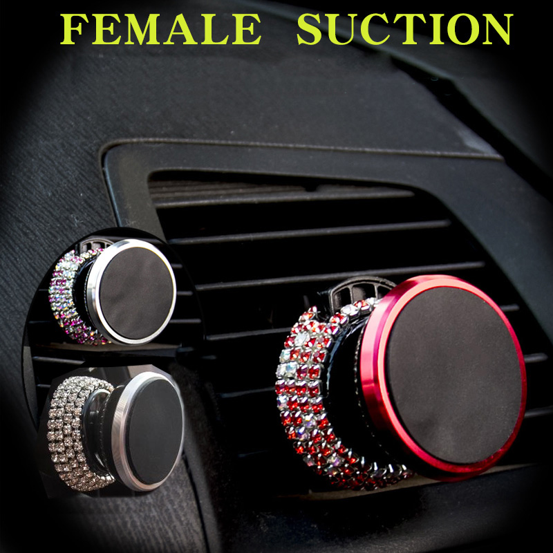 Crystal Diamond Magnetic Car Phone Holder Air Vent Mount Mobile Stand Magnet Support Cell in GPS For iPhone Samsung