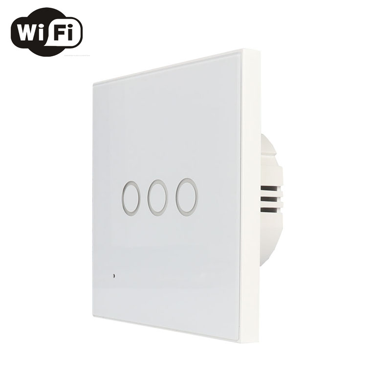 EU 3Gang Wall Wifi Light Switch Glass Panel Touch LED Lights Switch For Smart Home Wireless Remote Switch Control