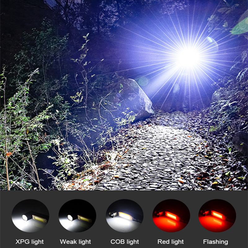 Купить с кэшбэком Multifunctional LED Flashlight USB Rechargeable Battery Powerful T6 Torch Side COB Light Linterna Tail Magnet Work Light