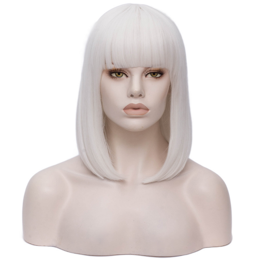 Ultimate SaleπYiyaobess Bob-Wig Cosplay Wigs Bangs Short Halloween-Costume Synthetic-Hair Black White