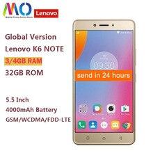 Ban Đầu Phiên Bản Toàn Cầu Lenovo K6 Note K53a48 4GB 32GB Điện Thoại Thông Minh Snapdragon 430 Lõi Octa 4000 MAh 5.5 Inch 1920X1080 16MP Camera
